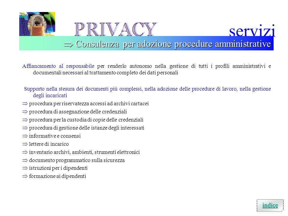 servizi  Consulenza per adozione procedure amministrative indice