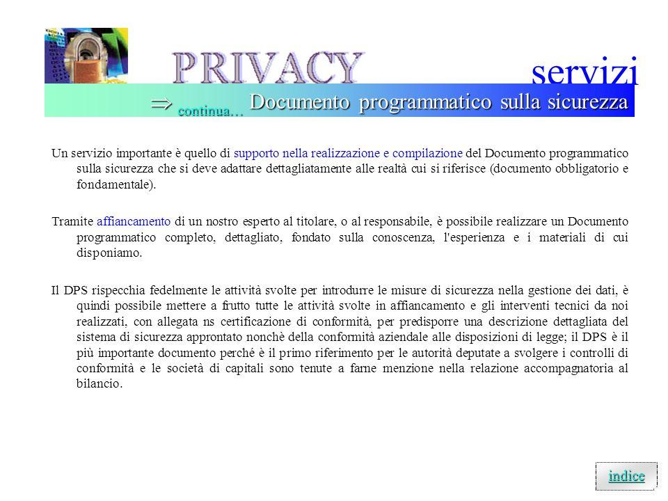 servizi  continua… Documento programmatico sulla sicurezza indice