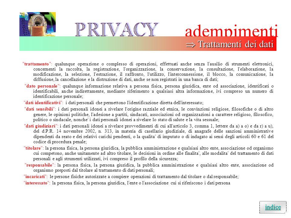 adempimenti  Trattamenti dei dati indice