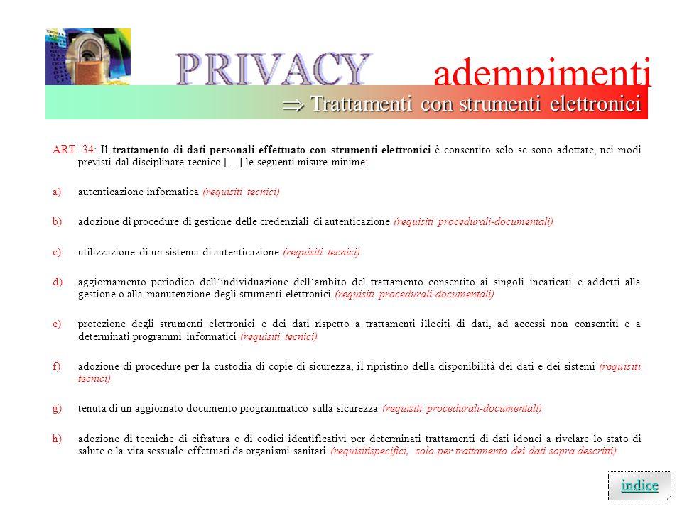 adempimenti  Trattamenti con strumenti elettronici indice