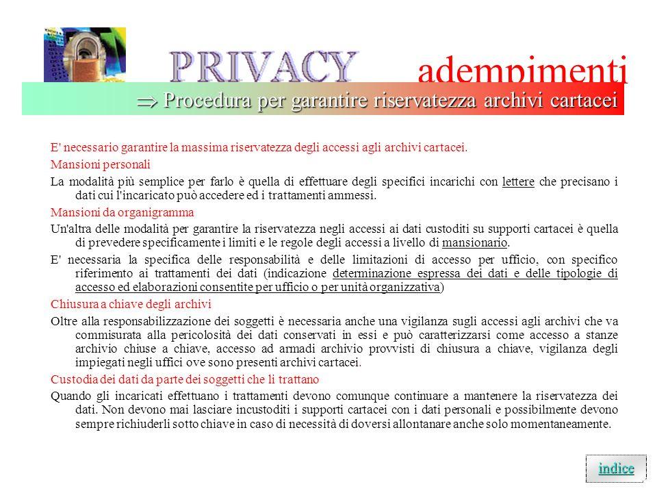 adempimenti  Procedura per garantire riservatezza archivi cartacei