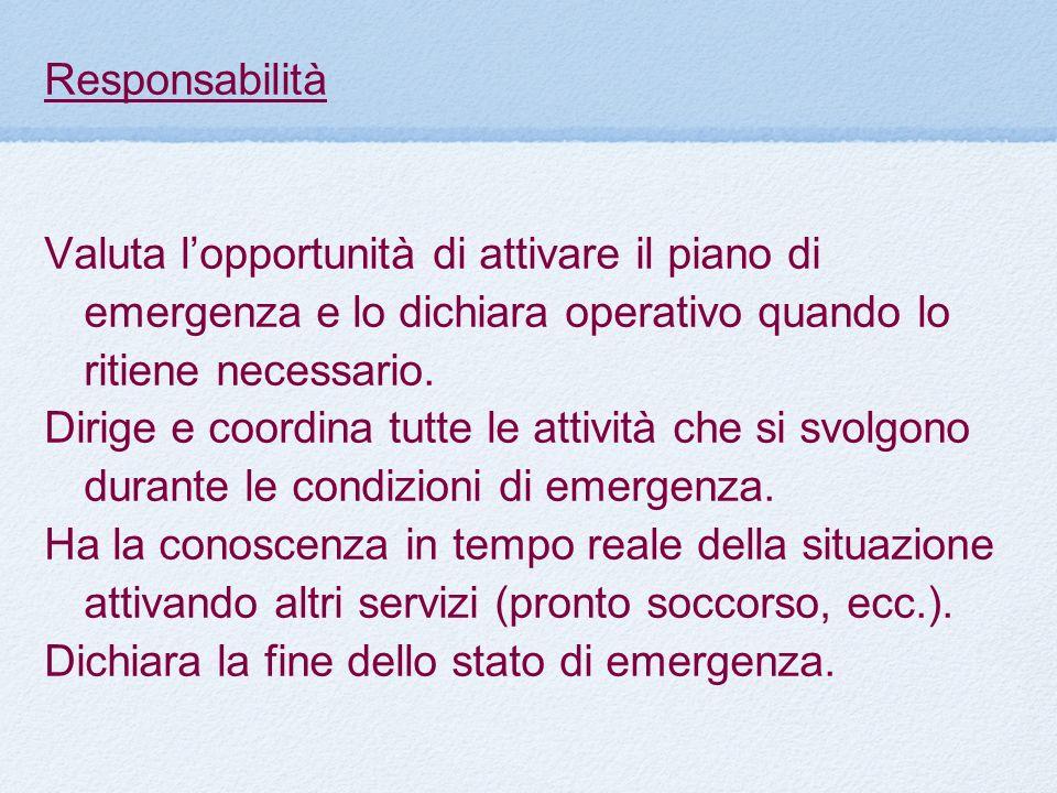 Responsabilità Valuta l'opportunità di attivare il piano di emergenza e lo dichiara operativo quando lo ritiene necessario.