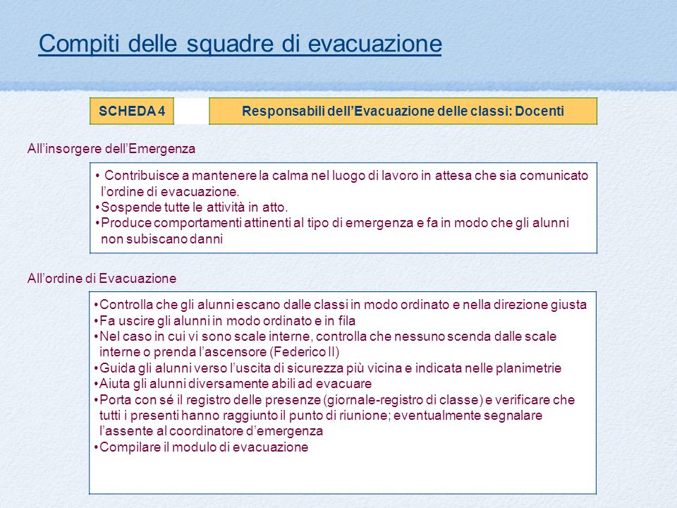 Responsabili dell'Evacuazione delle classi: Docenti