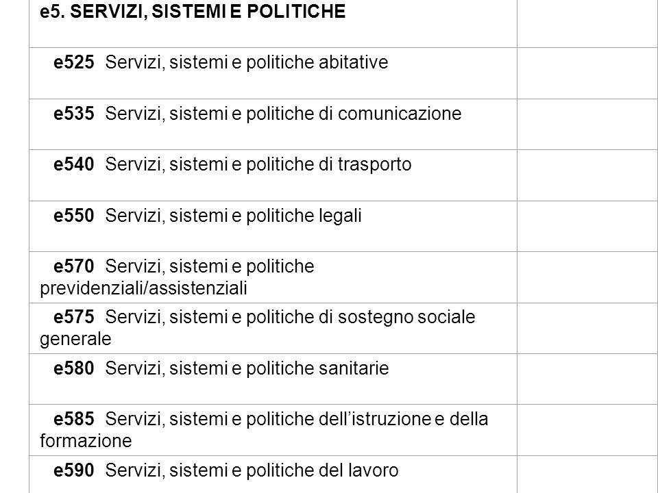 e5. SERVIZI, SISTEMI E POLITICHE