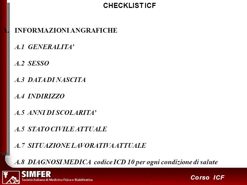 CHECKLIST ICF INFORMAZIONI ANGRAFICHE. A.1 GENERALITA' A.2 SESSO. A.3 DATA DI NASCITA. A.4 INDIRIZZO.
