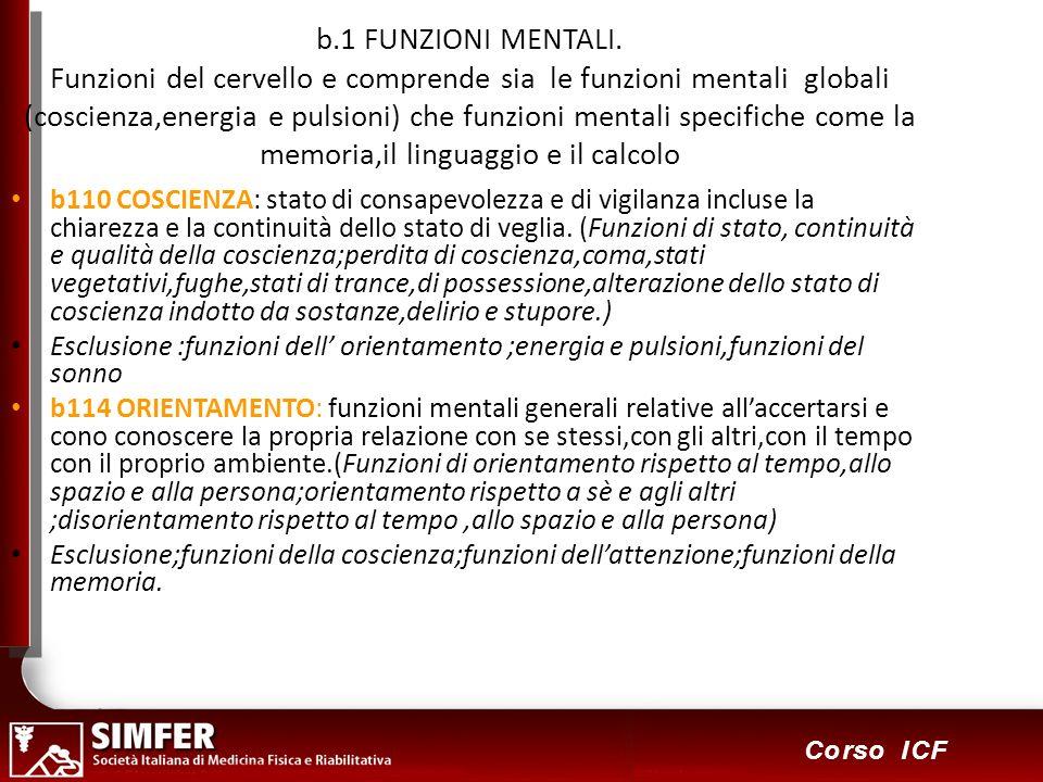 b.1 FUNZIONI MENTALI. Funzioni del cervello e comprende sia le funzioni mentali globali (coscienza,energia e pulsioni) che funzioni mentali specifiche come la memoria,il linguaggio e il calcolo