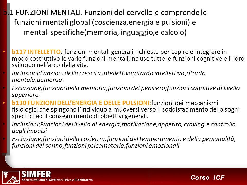 b.1 FUNZIONI MENTALI. Funzioni del cervello e comprende le funzioni mentali globali(coscienza,energia e pulsioni) e mentali specifiche(memoria,linguaggio,e calcolo)