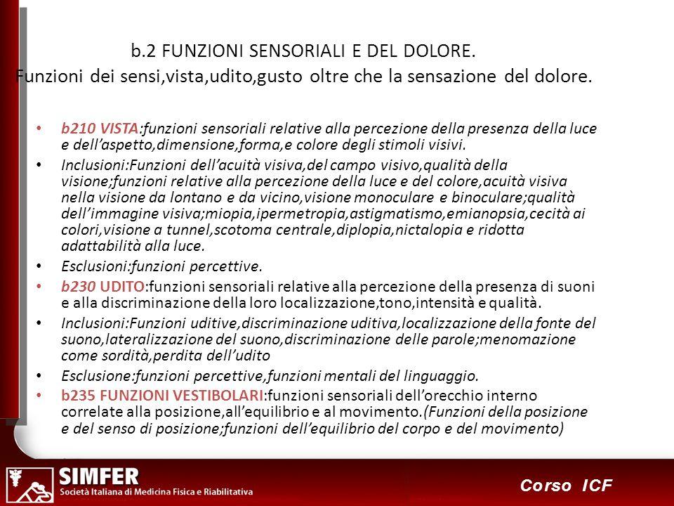 b. 2 FUNZIONI SENSORIALI E DEL DOLORE