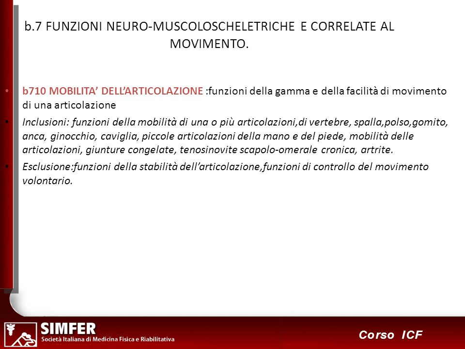 b.7 FUNZIONI NEURO-MUSCOLOSCHELETRICHE E CORRELATE AL MOVIMENTO.