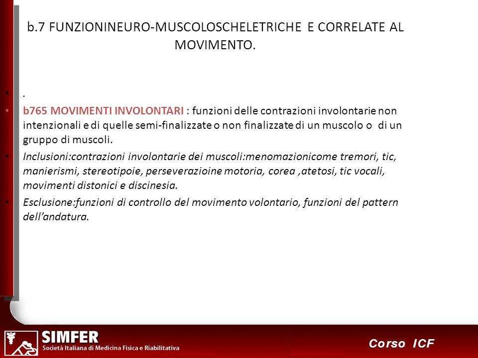 b.7 FUNZIONINEURO-MUSCOLOSCHELETRICHE E CORRELATE AL MOVIMENTO.
