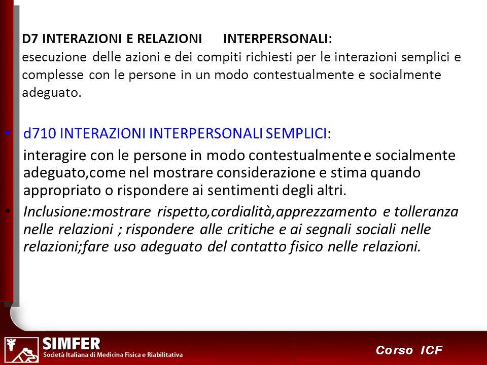 d710 INTERAZIONI INTERPERSONALI SEMPLICI: