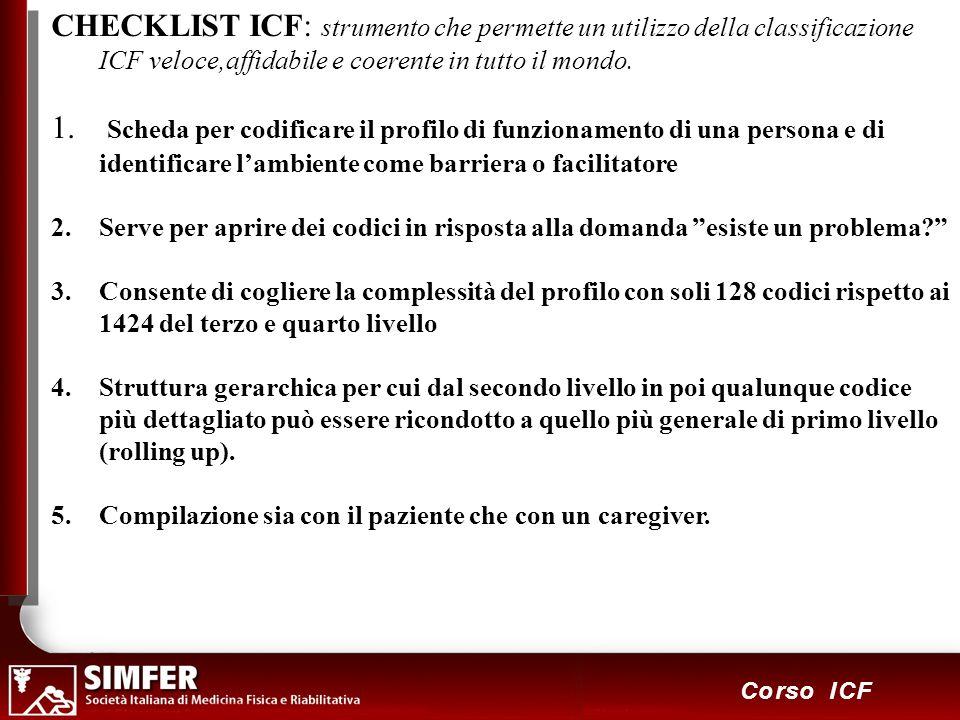 CHECKLIST ICF: strumento che permette un utilizzo della classificazione ICF veloce,affidabile e coerente in tutto il mondo.