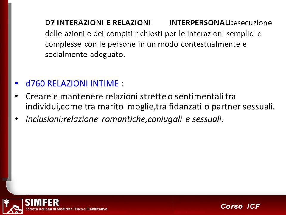 Inclusioni:relazione romantiche,coniugali e sessuali.
