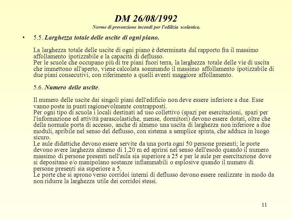 DM 26/08/1992 Norme di prevenzione incendi per l'edilizia scolastica.