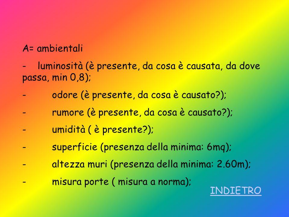 A= ambientali - luminosità (è presente, da cosa è causata, da dove passa, min 0,8); - odore (è presente, da cosa è causato );