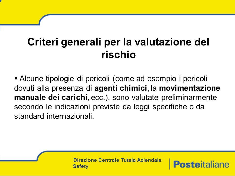 Criteri generali per la valutazione del rischio