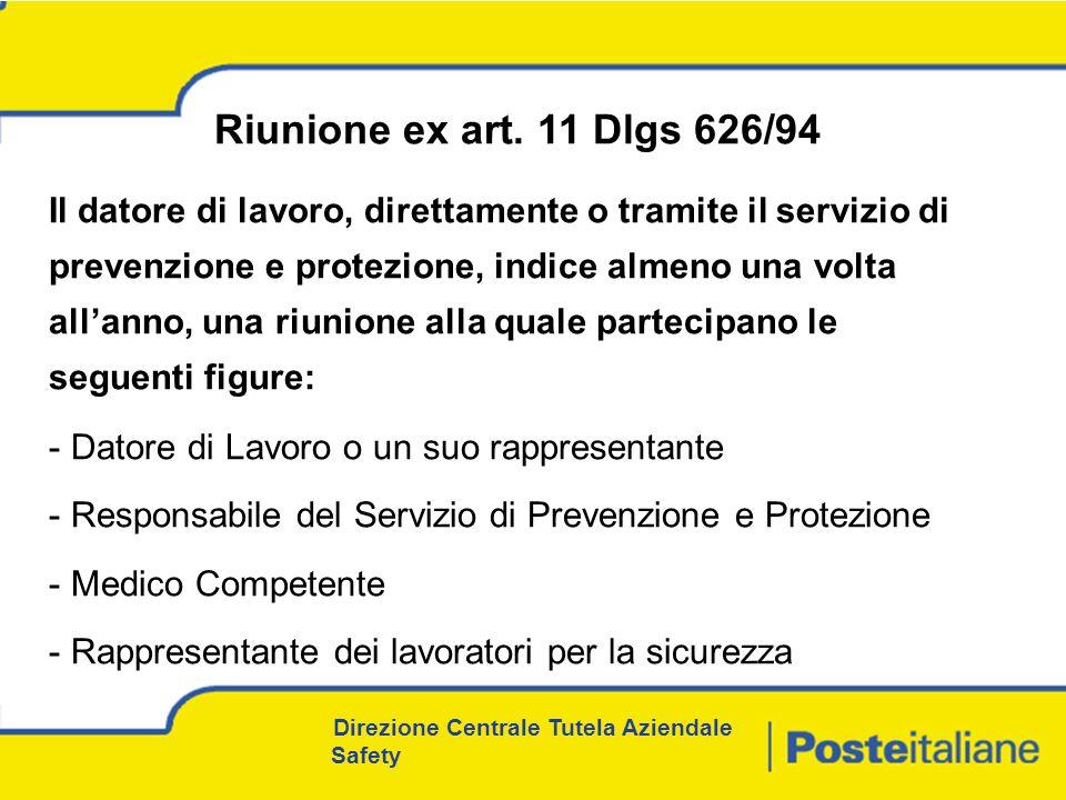 Riunione ex art. 11 Dlgs 626/94