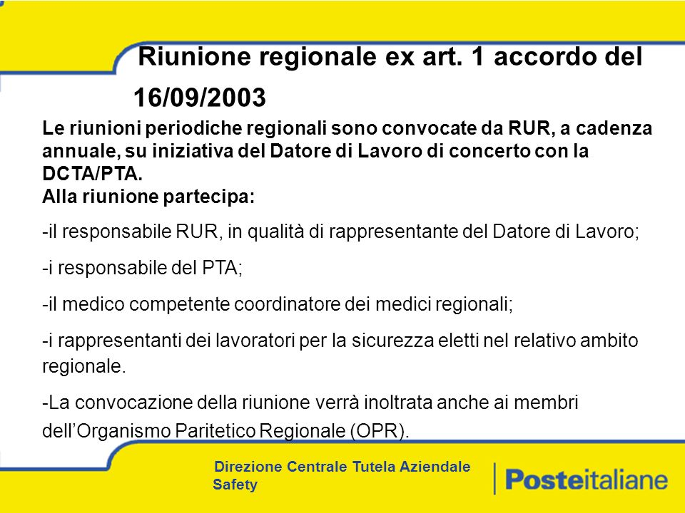Riunione regionale ex art. 1 accordo del 16/09/2003