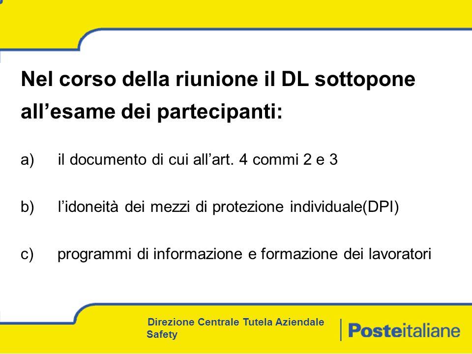 Nel corso della riunione il DL sottopone all'esame dei partecipanti: