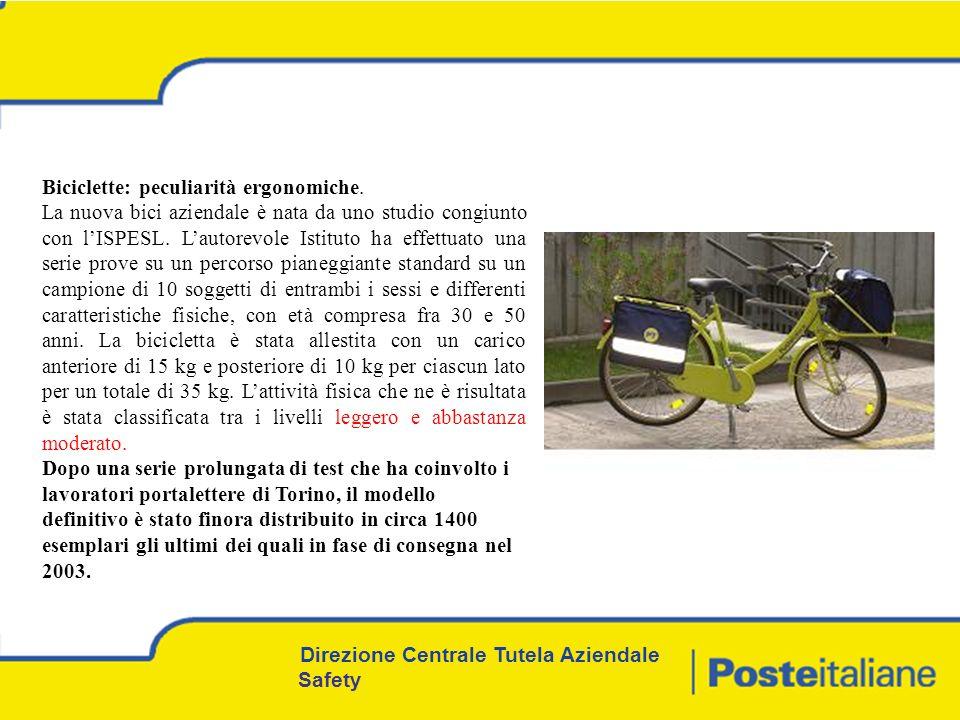 Biciclette: peculiarità ergonomiche.