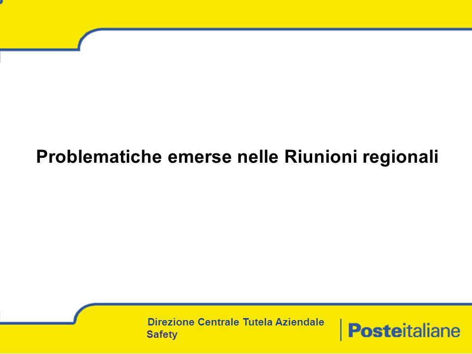 Problematiche emerse nelle Riunioni regionali