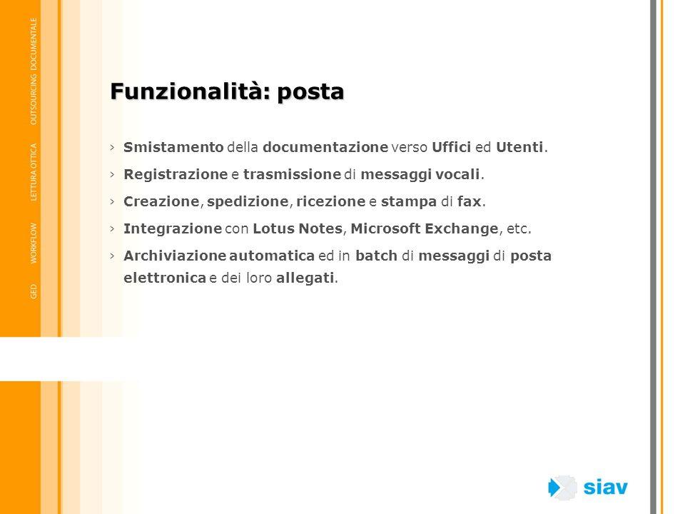 Funzionalità: posta Smistamento della documentazione verso Uffici ed Utenti. Registrazione e trasmissione di messaggi vocali.