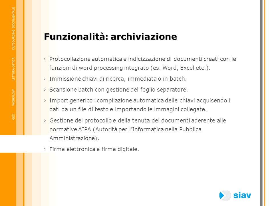 Funzionalità: archiviazione
