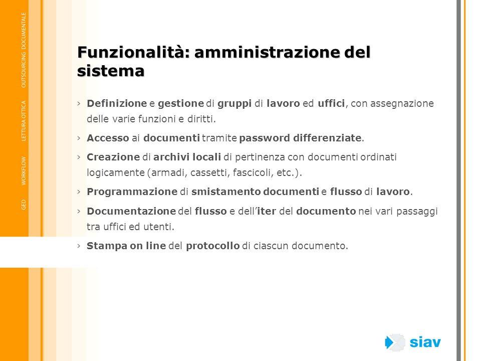 Funzionalità: amministrazione del sistema
