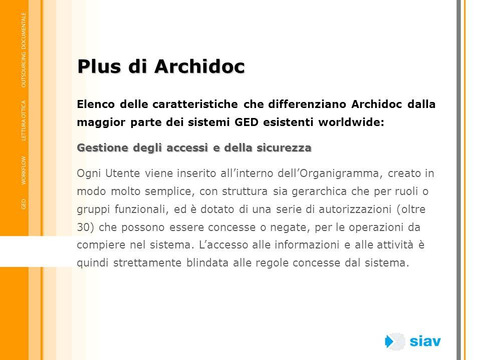 Plus di Archidoc Elenco delle caratteristiche che differenziano Archidoc dalla maggior parte dei sistemi GED esistenti worldwide: