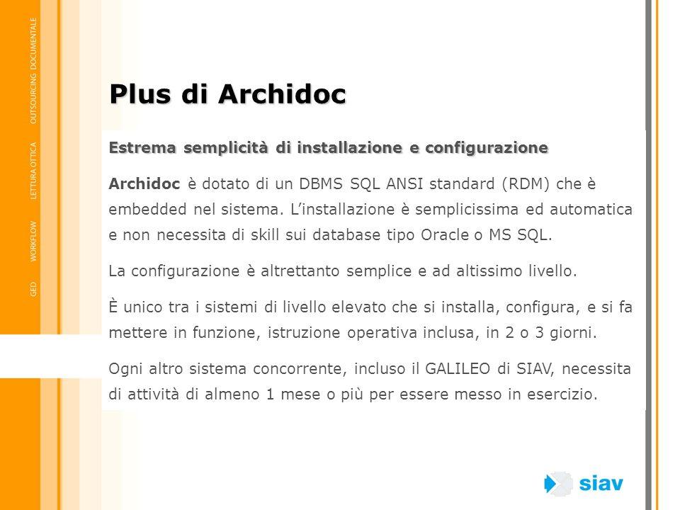 Plus di Archidoc Estrema semplicità di installazione e configurazione