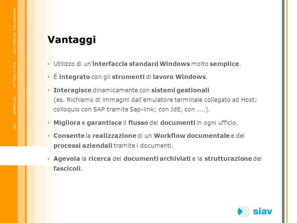 Vantaggi Utilizzo di un'interfaccia standard Windows molto semplice.