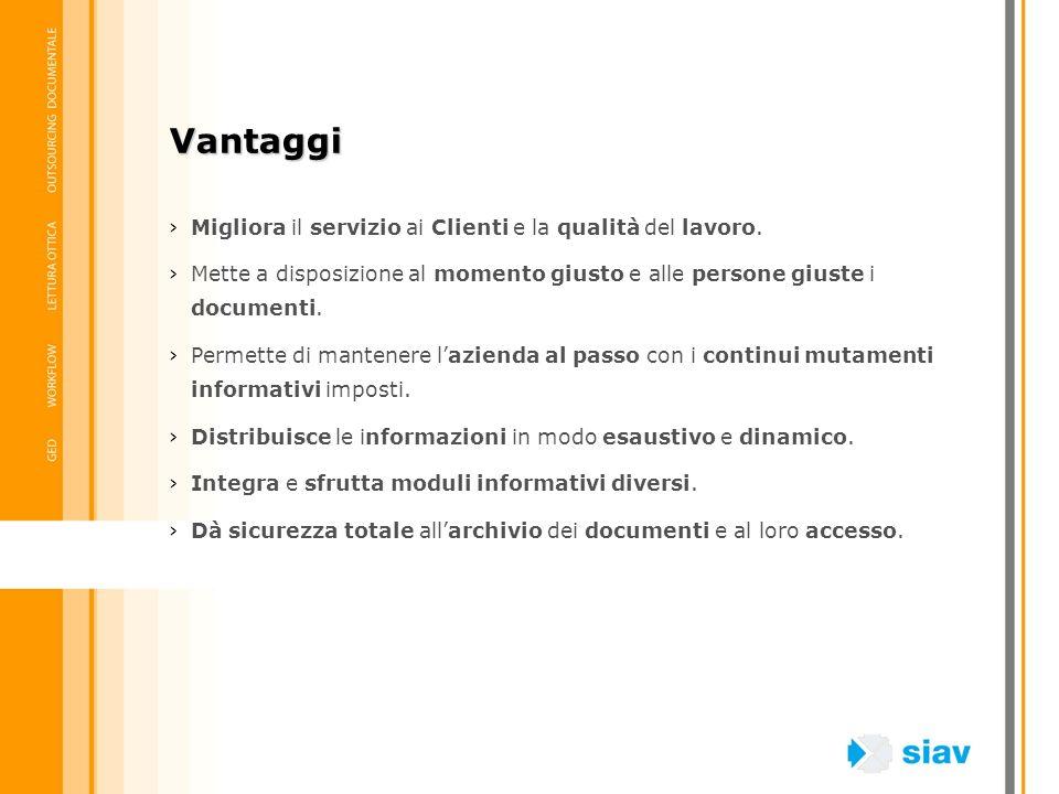Vantaggi Migliora il servizio ai Clienti e la qualità del lavoro.