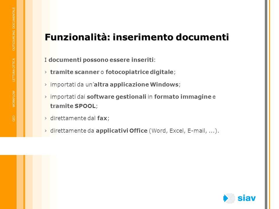 Funzionalità: inserimento documenti