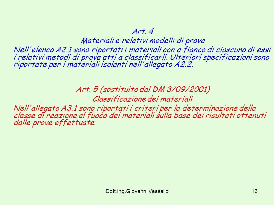 Art. 5 (sostituito dal DM 3/09/2001)