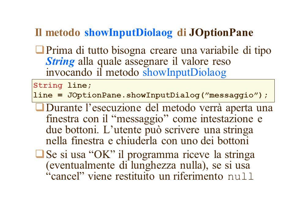 Il metodo showInputDiolaog di JOptionPane