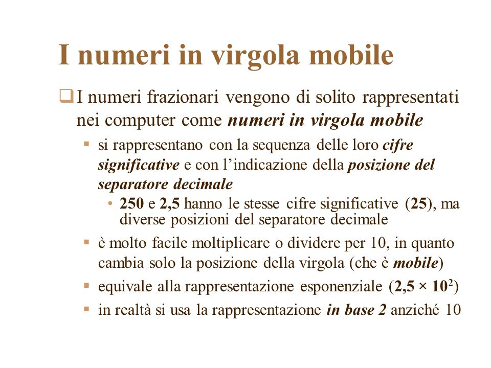 I numeri in virgola mobile