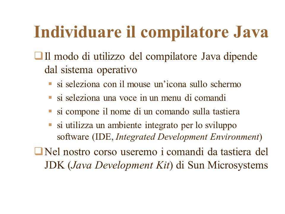 Individuare il compilatore Java
