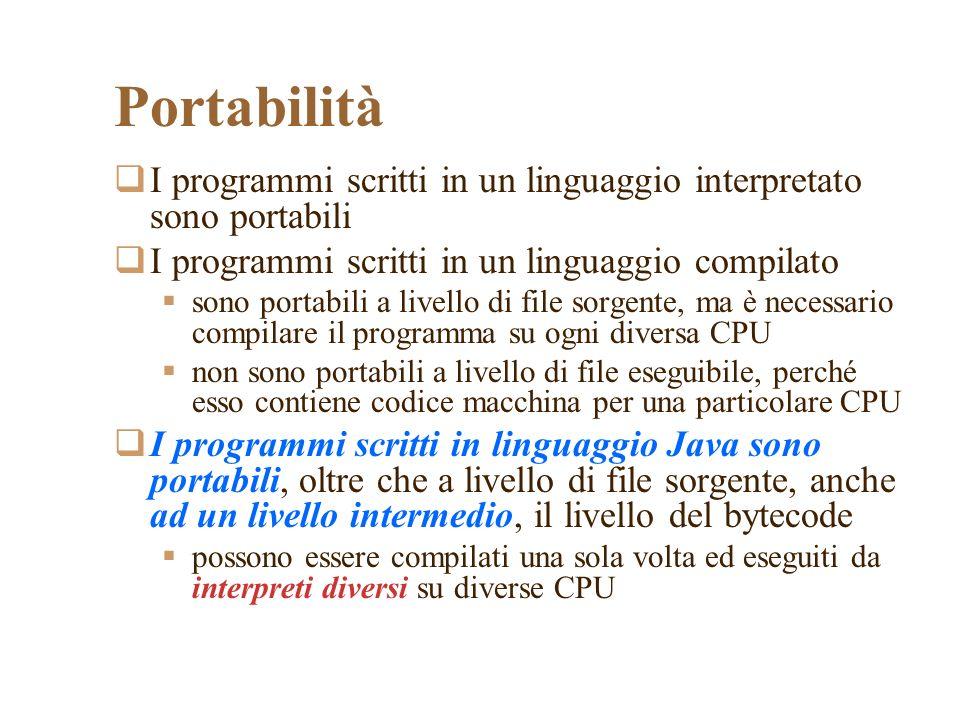 Portabilità I programmi scritti in un linguaggio interpretato sono portabili. I programmi scritti in un linguaggio compilato.