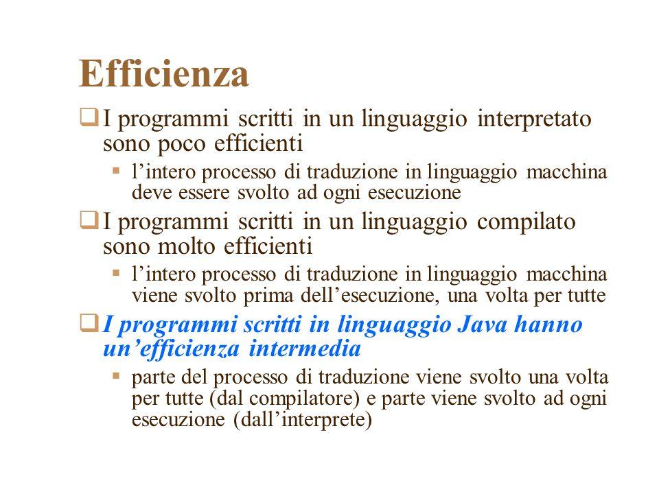 Efficienza I programmi scritti in un linguaggio interpretato sono poco efficienti.