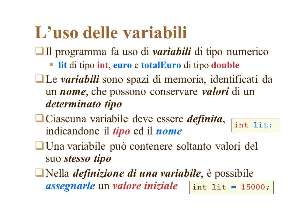 L'uso delle variabili Il programma fa uso di variabili di tipo numerico. lit di tipo int, euro e totalEuro di tipo double.