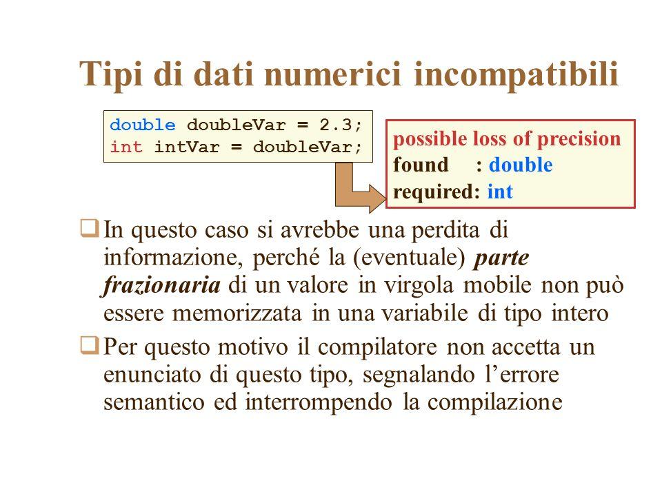 Tipi di dati numerici incompatibili