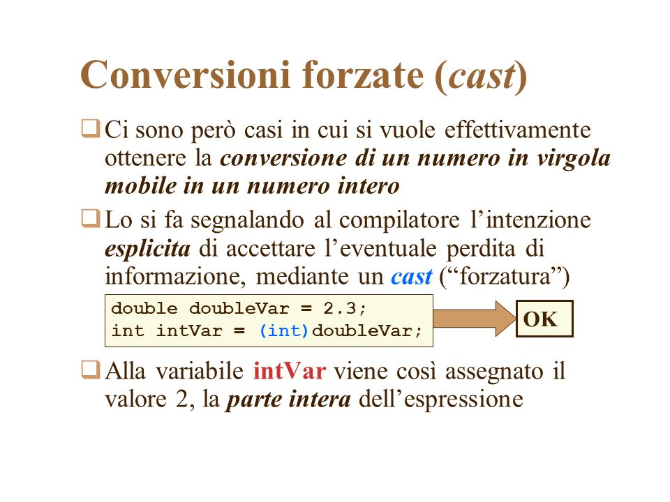 Conversioni forzate (cast)