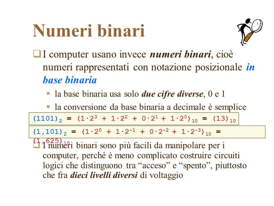 Numeri binari I computer usano invece numeri binari, cioè numeri rappresentati con notazione posizionale in base binaria.