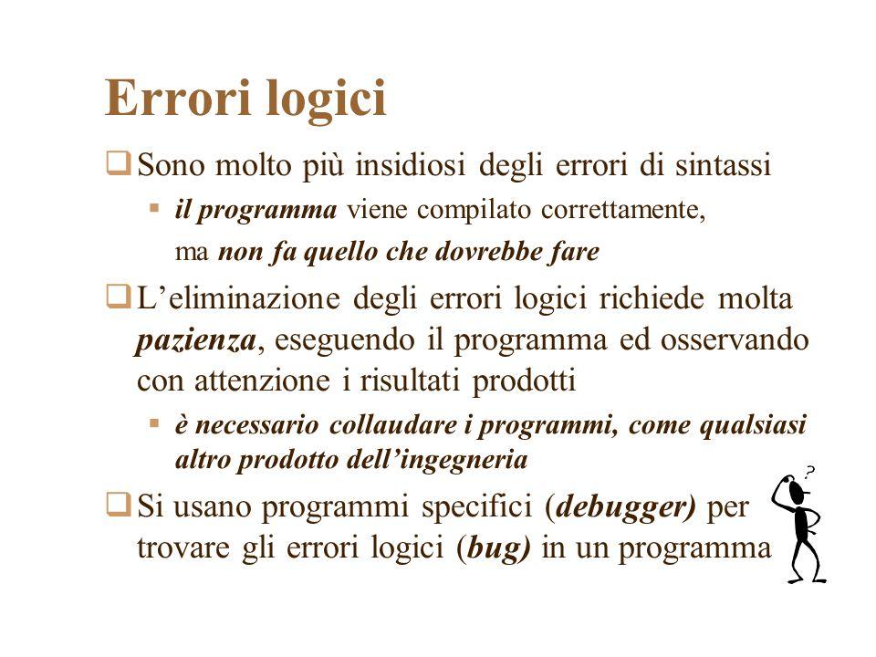 Errori logici Sono molto più insidiosi degli errori di sintassi