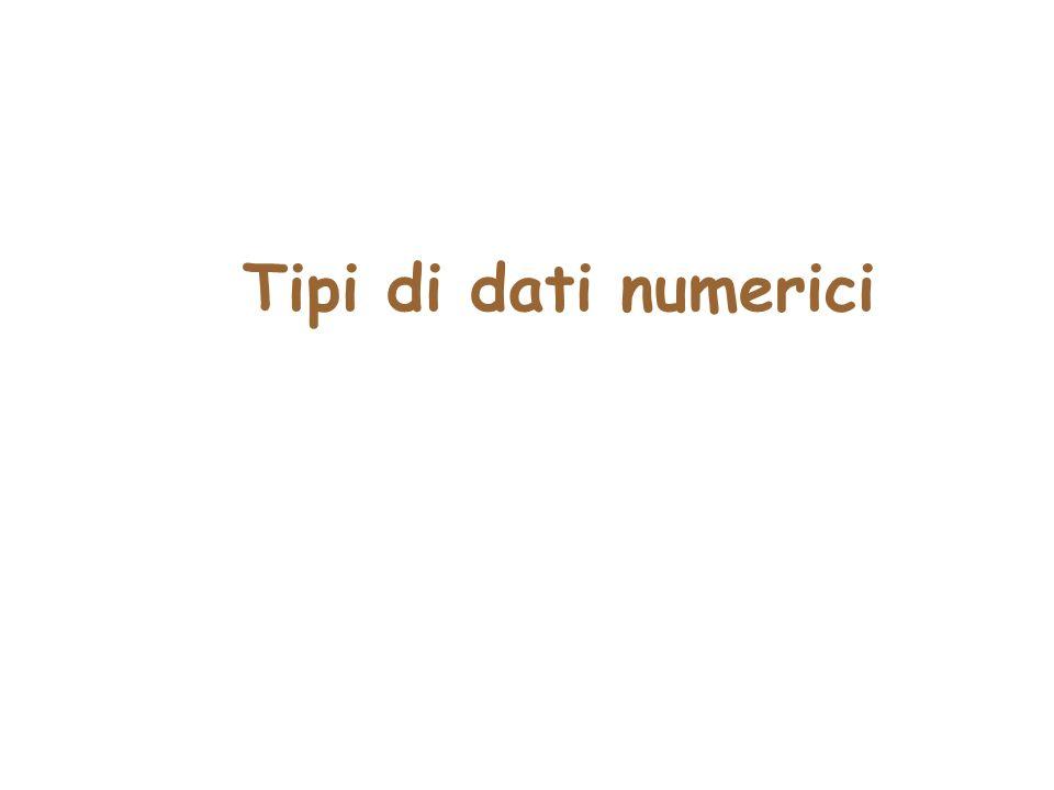 Tipi di dati numerici Paragrafo1