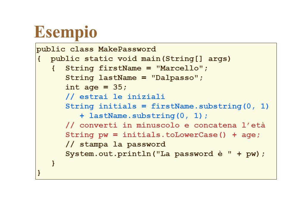 Esempio public class MakePassword
