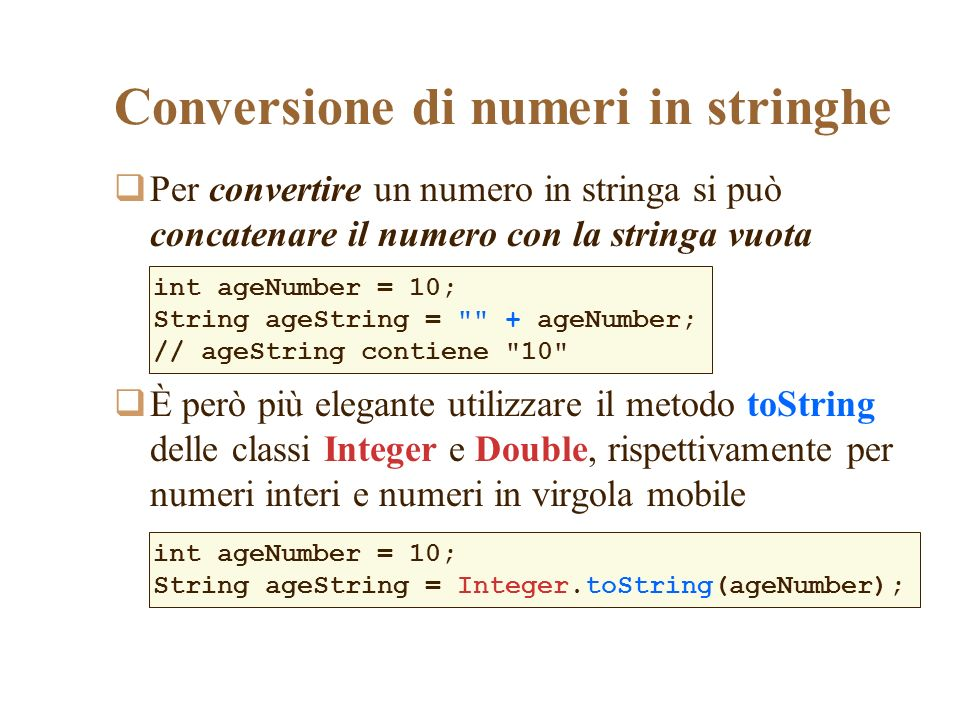 Conversione di numeri in stringhe