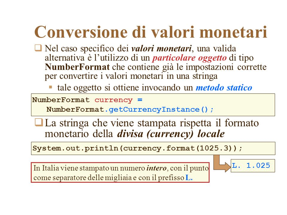 Conversione di valori monetari