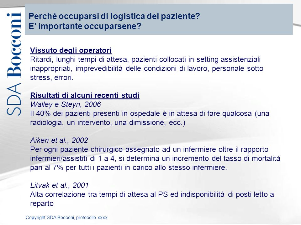 Perché occuparsi di logistica del paziente E' importante occuparsene