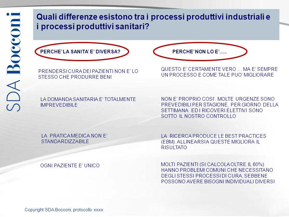 Quali differenze esistono tra i processi produttivi industriali e i processi produttivi sanitari